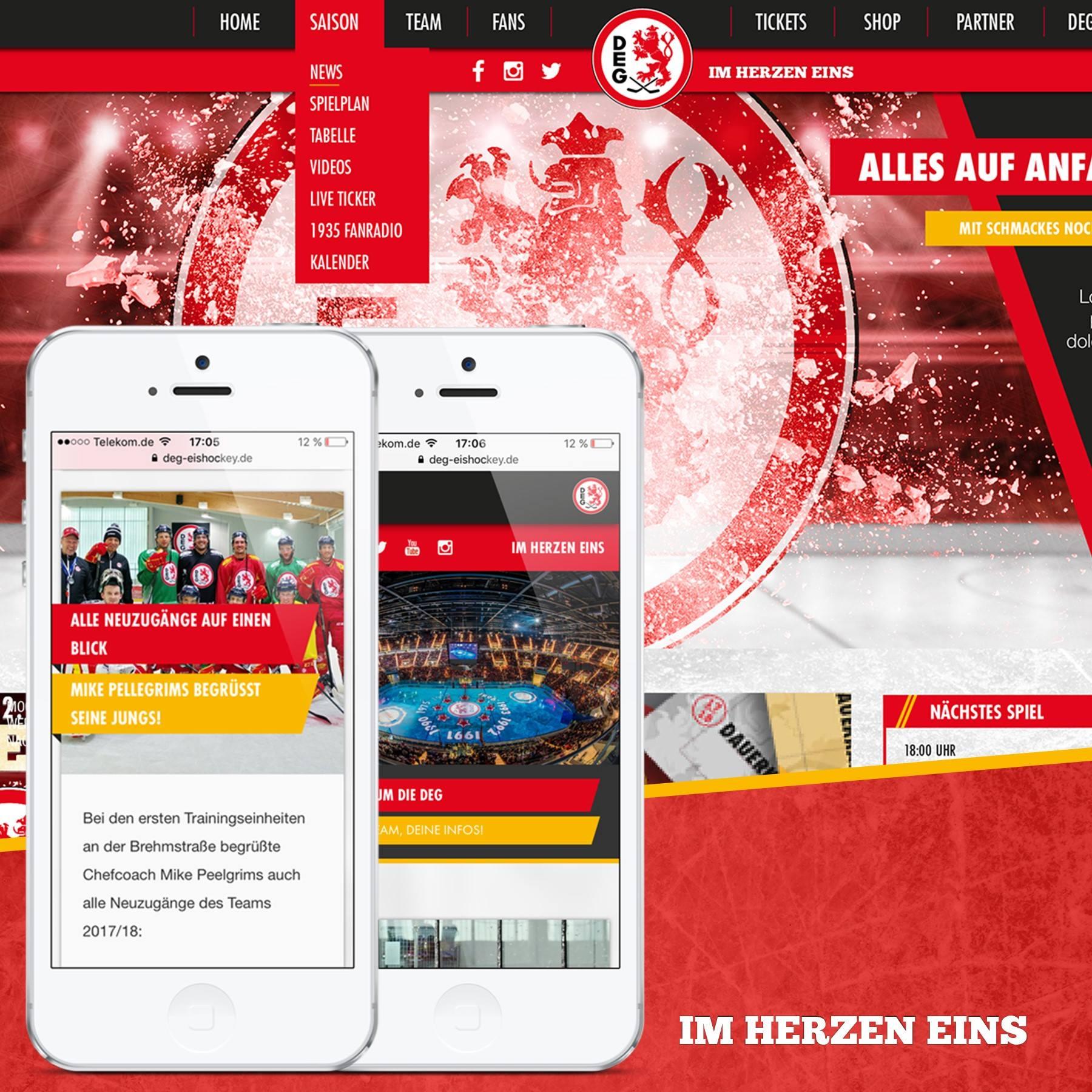 Relaunch der DEG Webseite mit einem responsiven Webdesign
