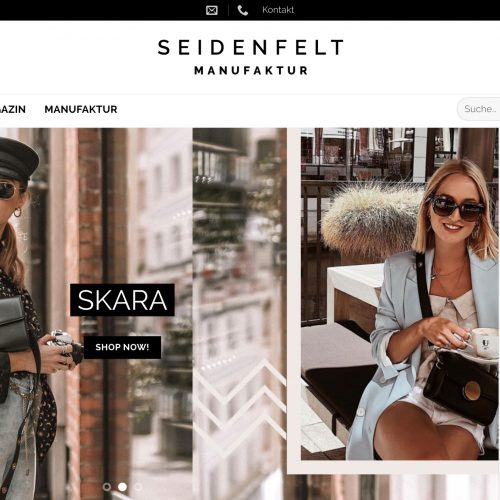 Screenshot Seidenfelt Online Shop
